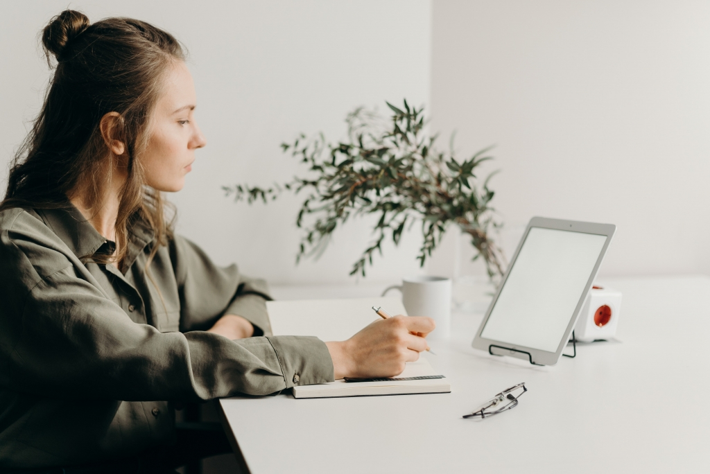 woman motivated productive remote working
